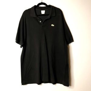 Black knit Lacoste short sleeved polo size 9=xxl